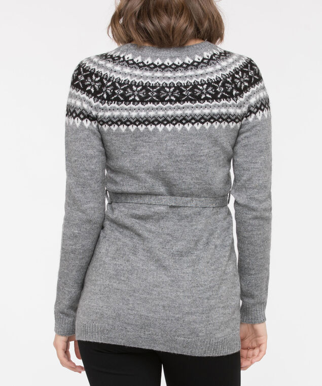 Fair Isle Pullover Tunic Sweater, Mid Heather Grey/Black/Pearl, hi-res