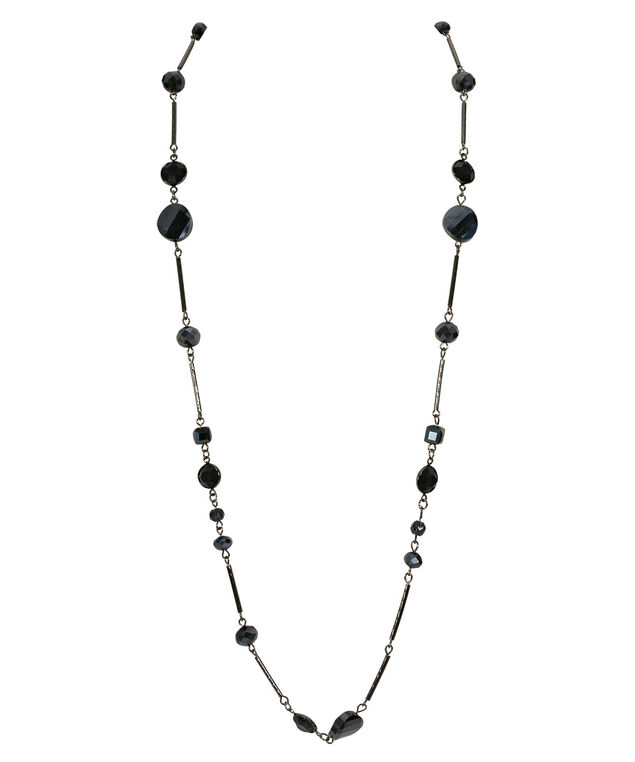 Faceted Stone Station Necklace, Deep Sapphire/Hematite, hi-res