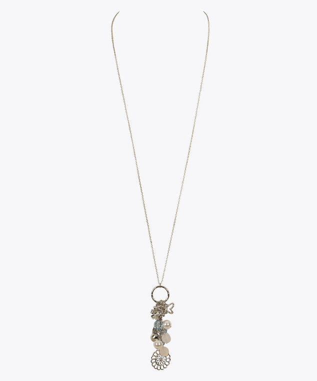 Faceted Charm Cluster Pendant, Blue/Pearl/Rhodium, hi-res