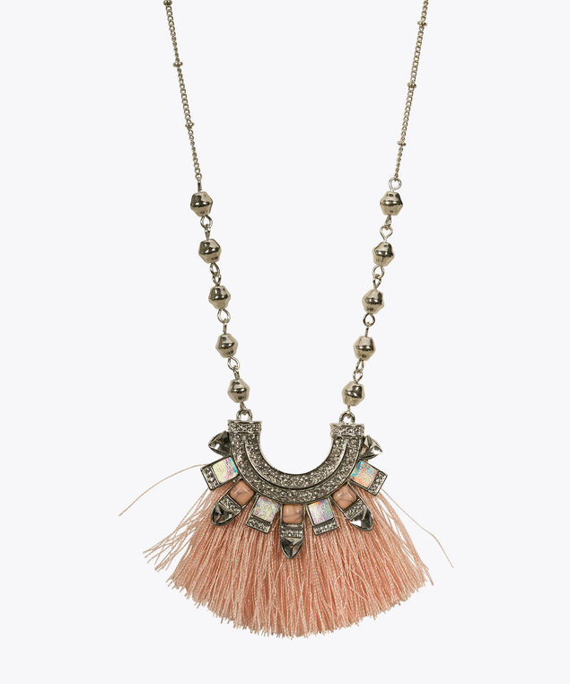 Tassel Pendant Necklace, Pastel Pink/Rhodium, hi-res