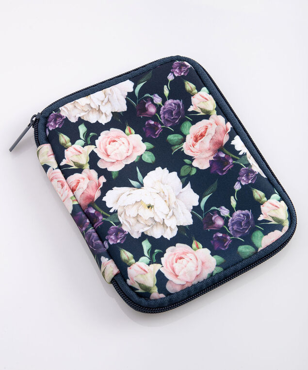 Floral Charger & Cord Case, True Navy/Dusty Rose/Pearl, hi-res