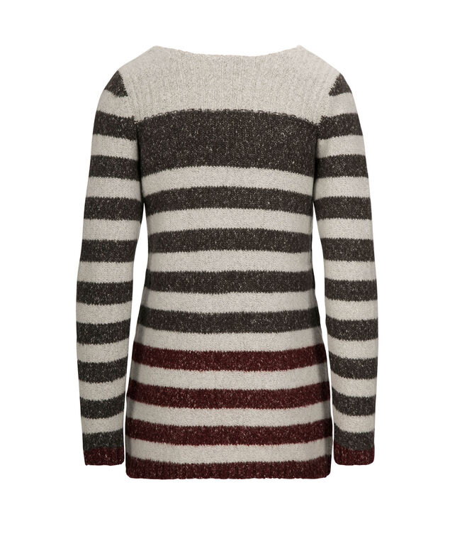 Striped Plush Pullover Sweater, Wine/Milkshake/Charcoal, hi-res