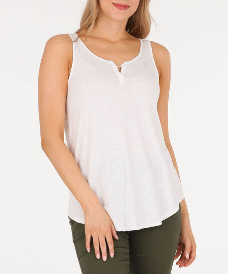 Sleeveless Button Loop Top, True White, hi-res