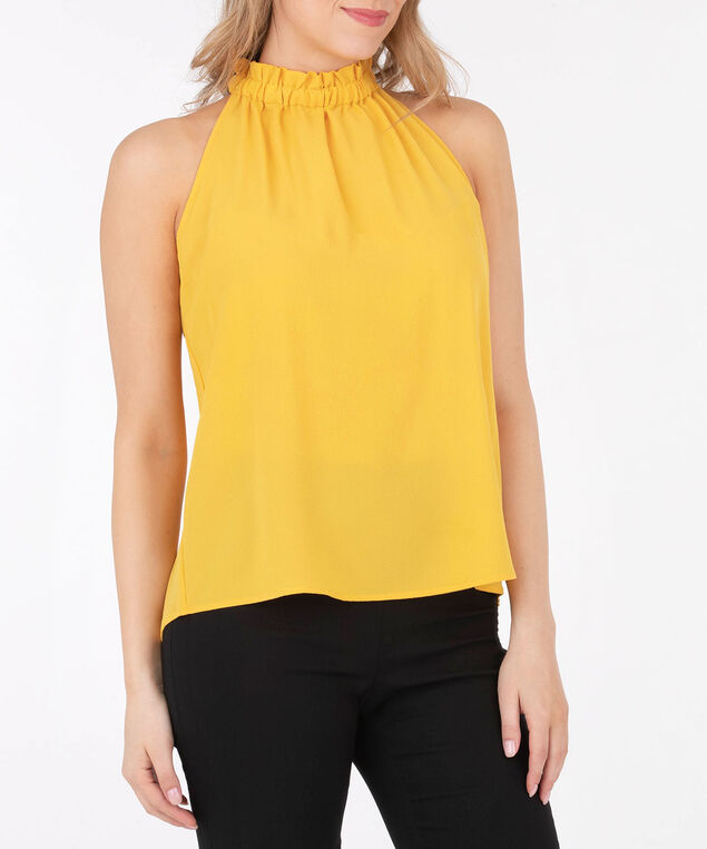 Smocked Halter Neck Blouse, Yellow, hi-res