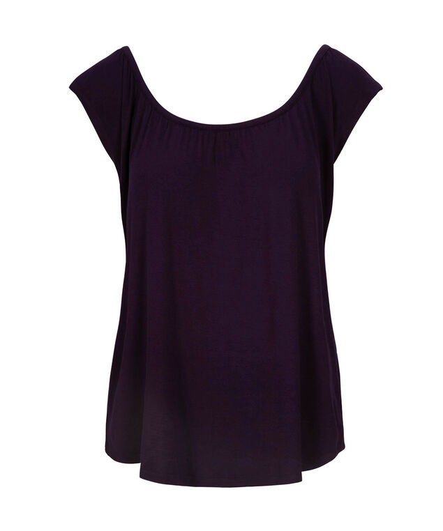 Gathered Neck Extended Sleeve Tee, Deep Purple, hi-res