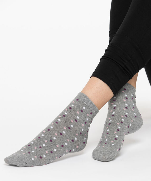 Polka Dot Crew Socks, Fig/Rose Petal/Grey, hi-res