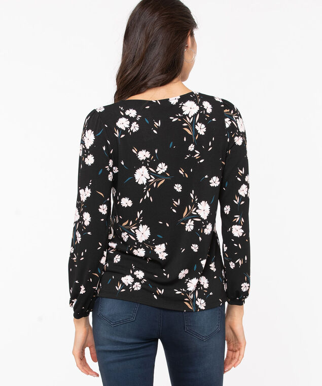 Long Sleeve Cuffed V-Neck Top, Black/Teal/Pink/Ivory, hi-res