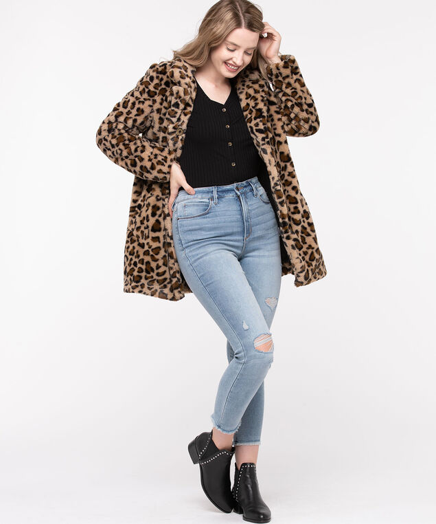 Leopard Print Faux Fur Coat, Camel/Black, hi-res