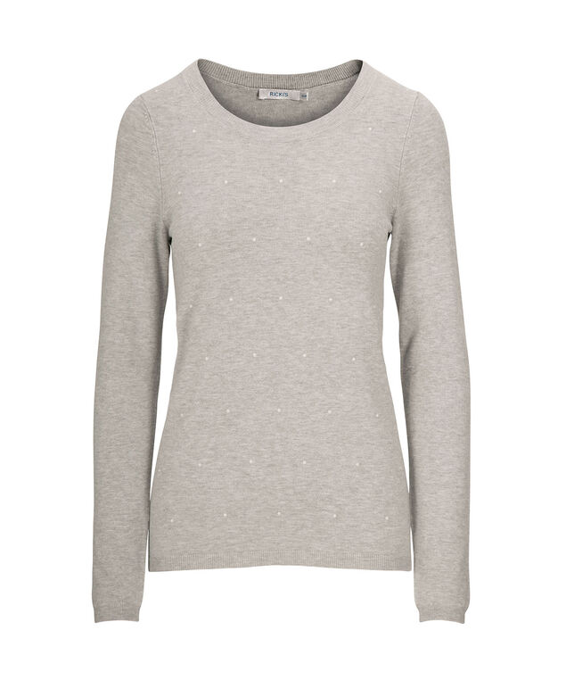 Pearl Embellished Pullover Sweater, Grey, hi-res