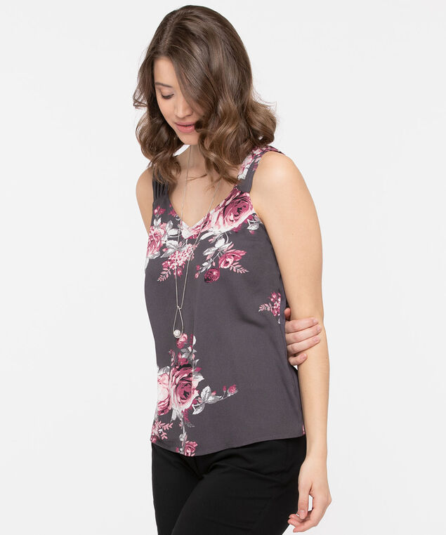 Pleated Strap Mixed Media Top, Slate/Rose Petal/Fig