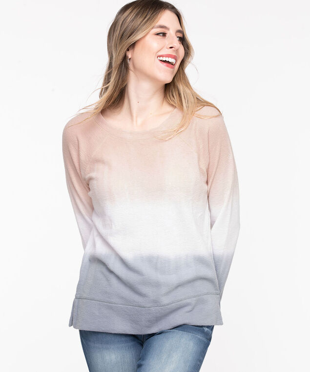 Dip Dye Sweat Shirt, Blush/white/Soft blue