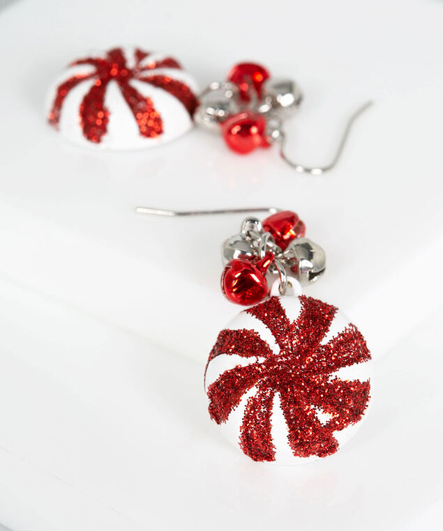 Peppermint Bell Earring, Pearl/Crimson, hi-res