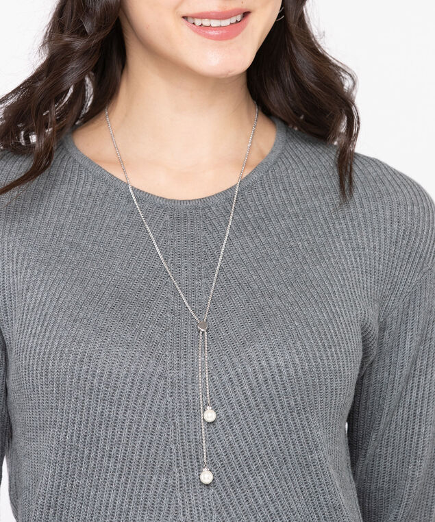 Long Adjustable Pearl Lariat Necklace, Silver/Pearl, hi-res
