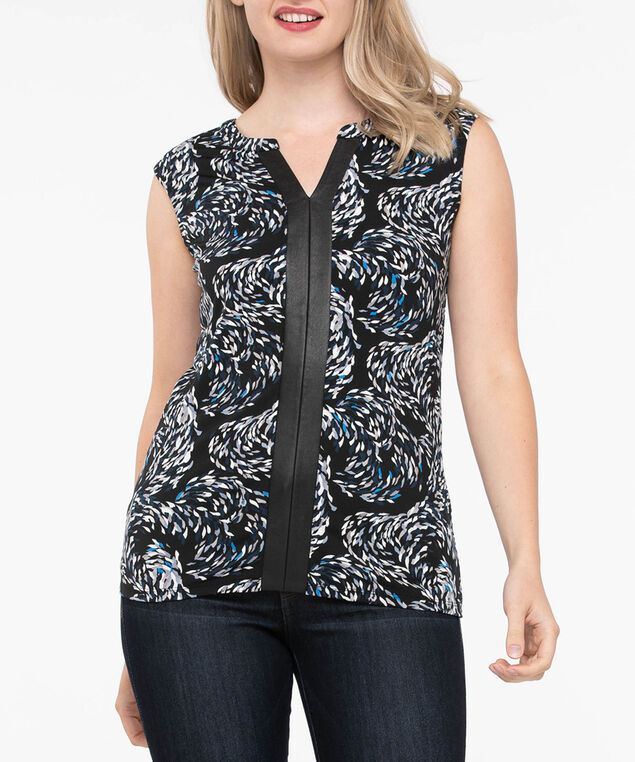 Sleeveless Pleather Trim Top, Black/Grey/Blue, hi-res