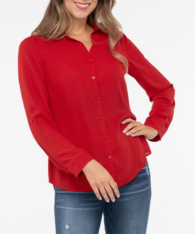 Collared Button Down Blouse, Crimson, hi-res