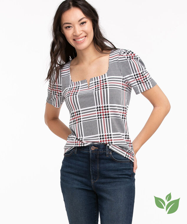 Eco-Friendly Puff Sleeve Top, White/Black/Red Houndstooth