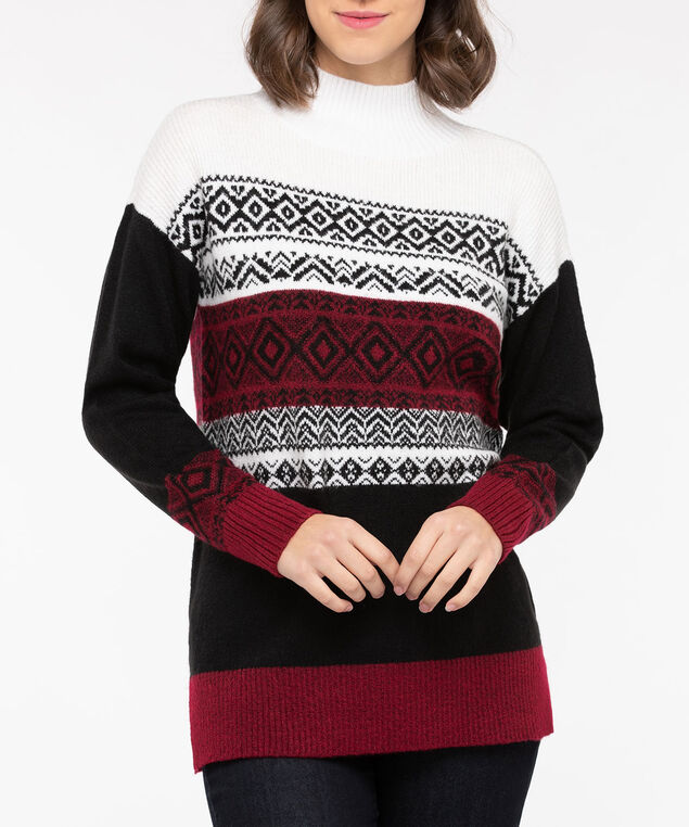 Fair Isle Mock Neck Pullover, Black/Crimson/Pearl, hi-res