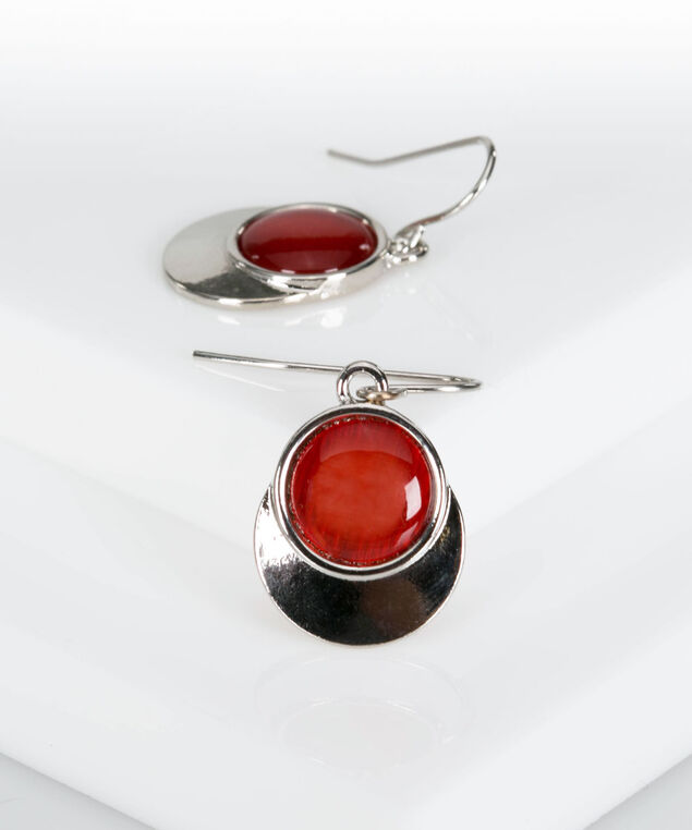 Cateye & Silver Disc Earring, Cherry/Rhodium, hi-res