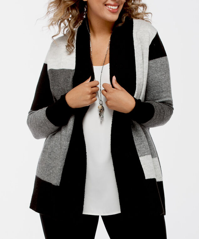 Colourblack Open Cardigan, Black/Mid Heather Grey/Light Heather Gre, hi-res