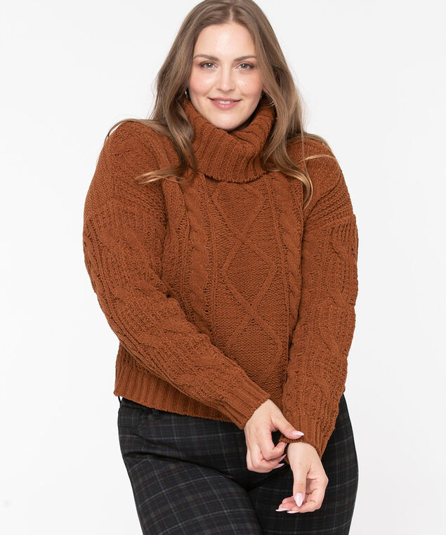 Cable Knit Cowl Neck Sweater, Toffee