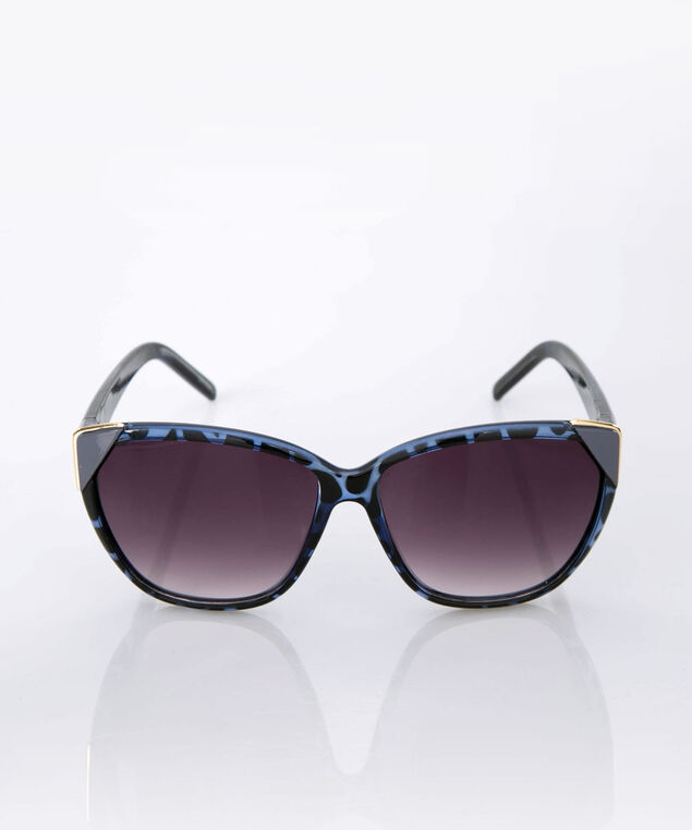 Animal Print Cateye Sunglasses, Ink Blue/Soft Blue, hi-res
