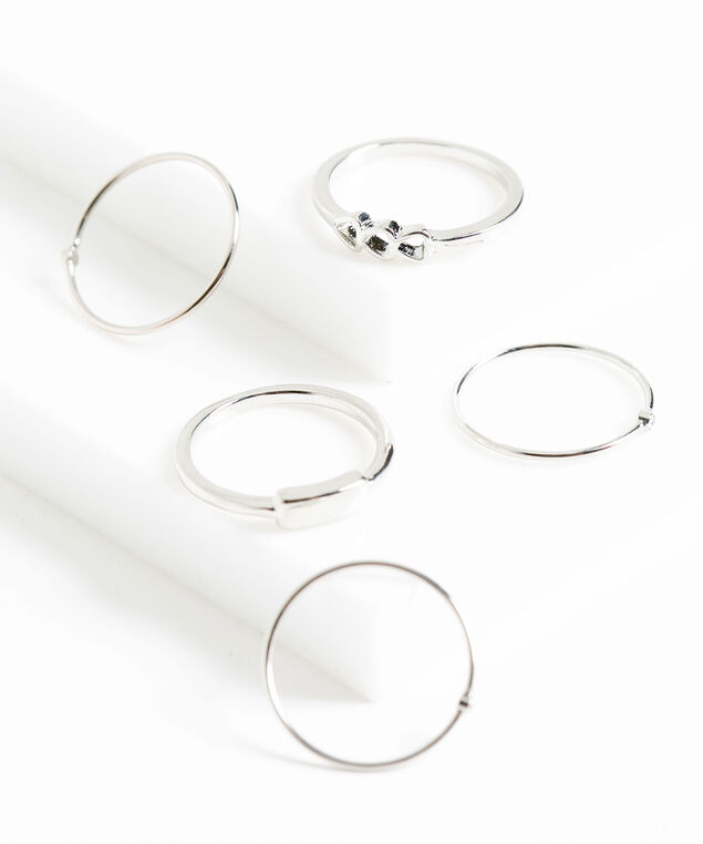 Silver Metal Stacking Rings, Silver, hi-res