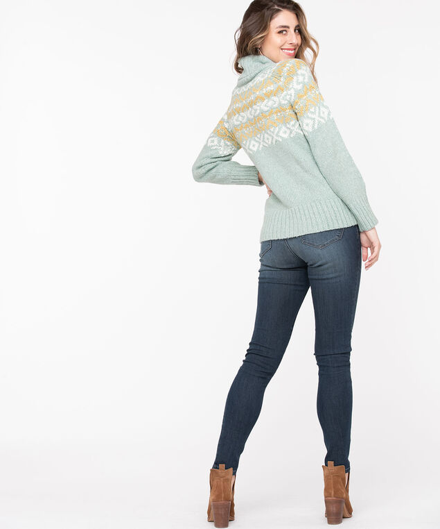 Seagrass Winter Pattern Turtleneck Sweater, Seagrass/Pristine, hi-res