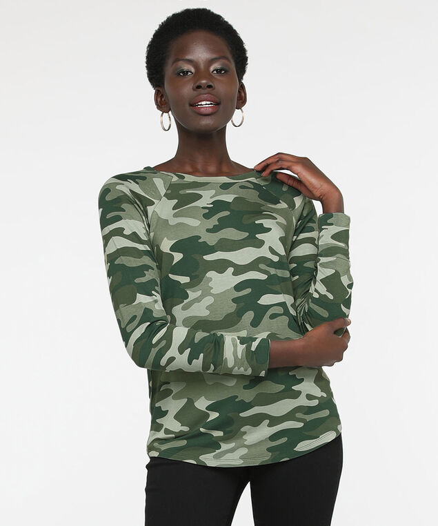 Long Sleeve Button Back Camo Top, Pine/Olive/Sage, hi-res