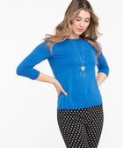 Soft Knit Pullover Sweater, Azure, hi-res