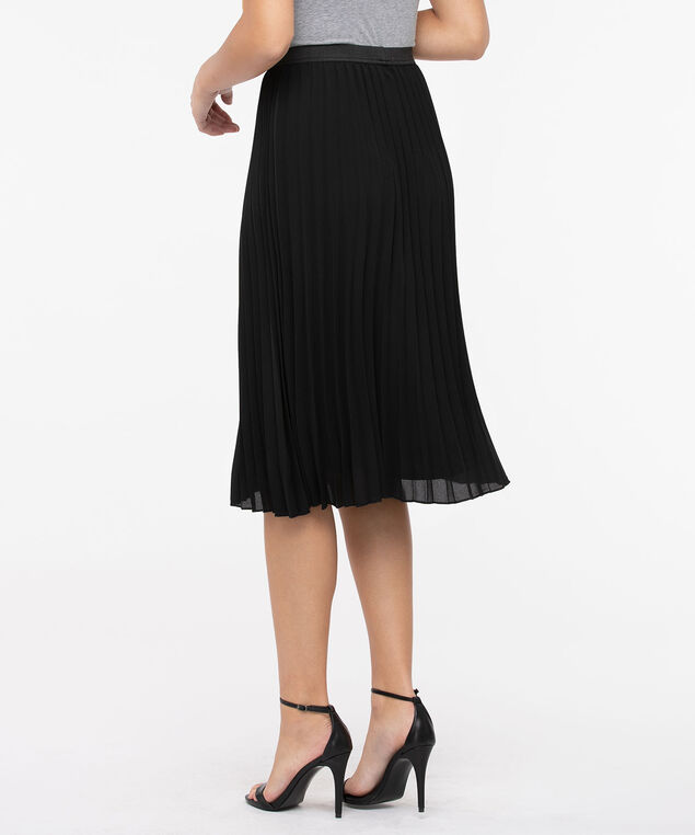 Pleated Pull On Midi Skirt, Black, hi-res