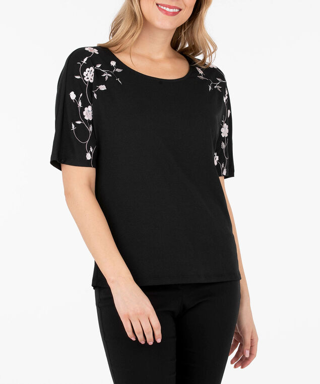 Embroidered Dolman Sleeve Knit Top, Black/Cameo Pink/Silver Grey, hi-res