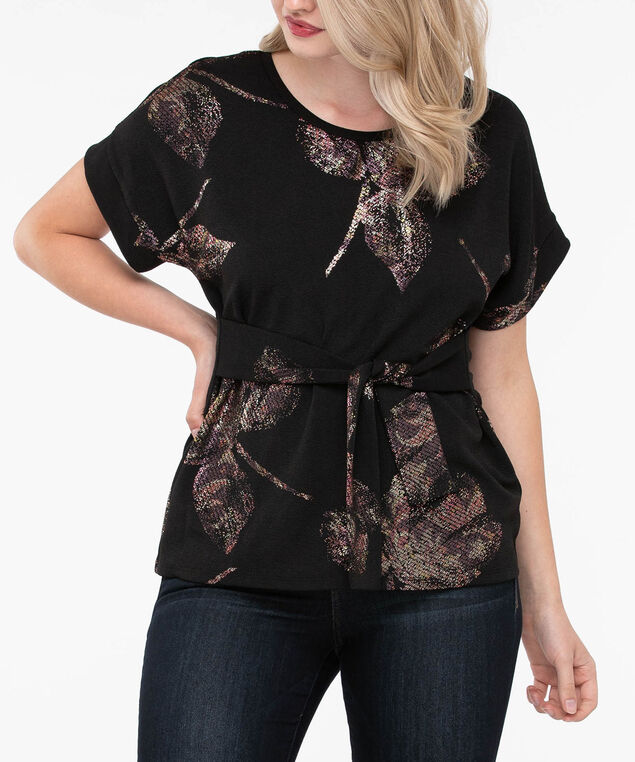 Short Sleeve Tie Front Top, Black/Dusty Pink/Gold, hi-res