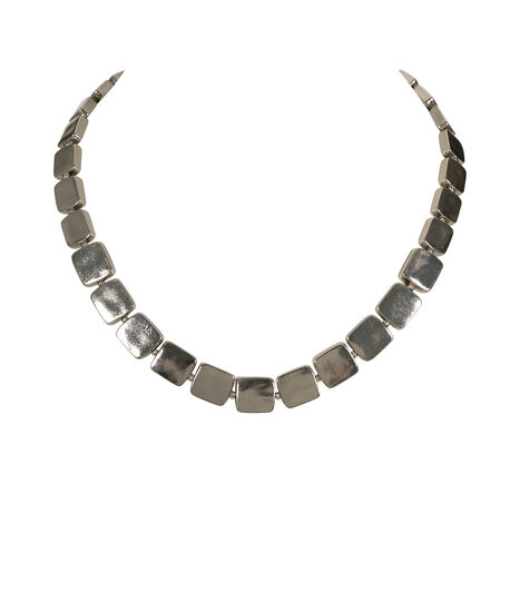 Stationed Square Collar Necklace, Rhodium, hi-res