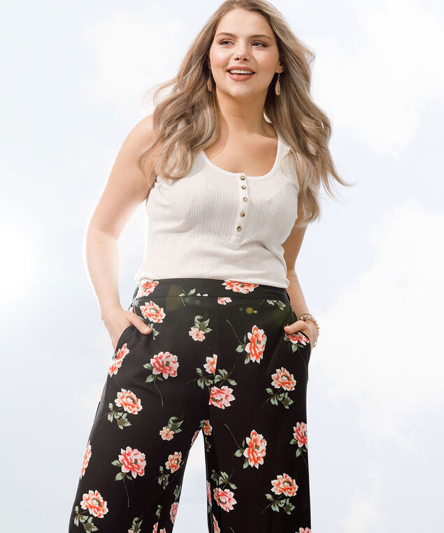 Floral Wide Leg Crop Pant, Black/Strawberry/Sherbert, hi-res