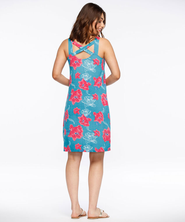 Criss-Cross Trapeze Dress, Aqua/Coral/Blue, hi-res