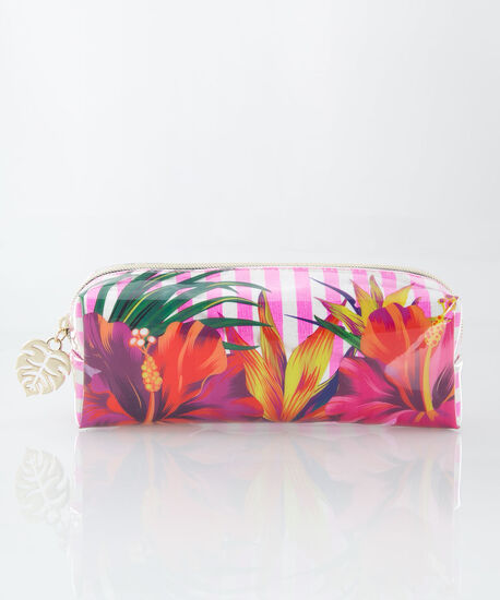 Tropical Print Cosmetic Pouch, Pink/White/Yellow, hi-res