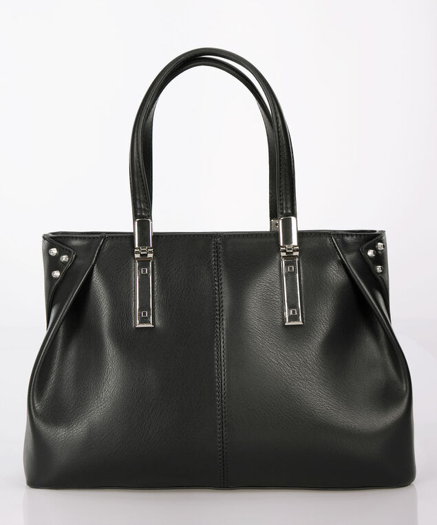 Studded East West Satchel, Black, hi-res