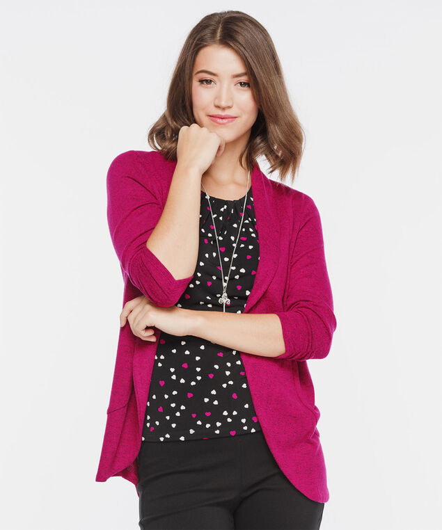 Speckled Shawl Collar Cardigan, Orchid Mix, hi-res