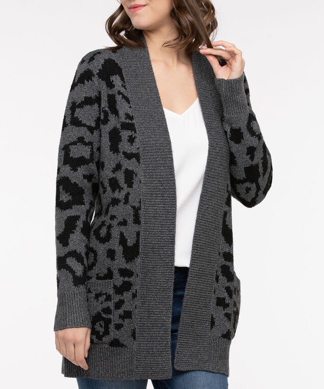Animal Print Open Front Cardigan, Black/Mid Heather Charcoal, hi-res