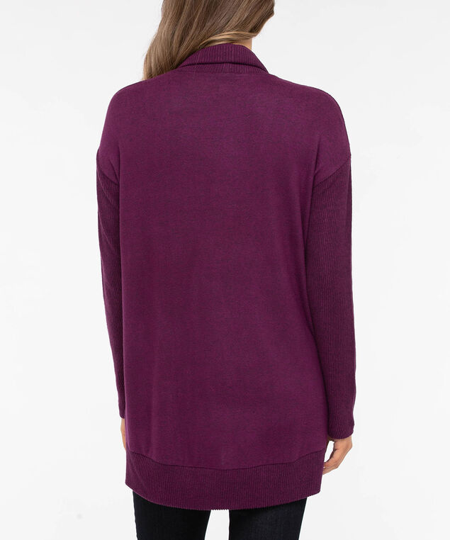 Ribbed Trim Open Cardigan, Berry, hi-res