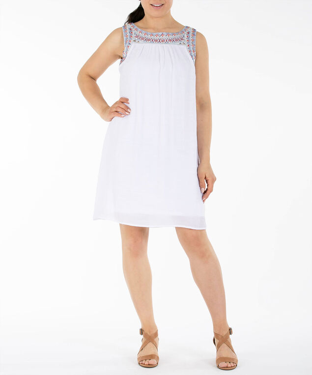 Embroidered Trim Gauze Dress, White/Blue/Gold, hi-res