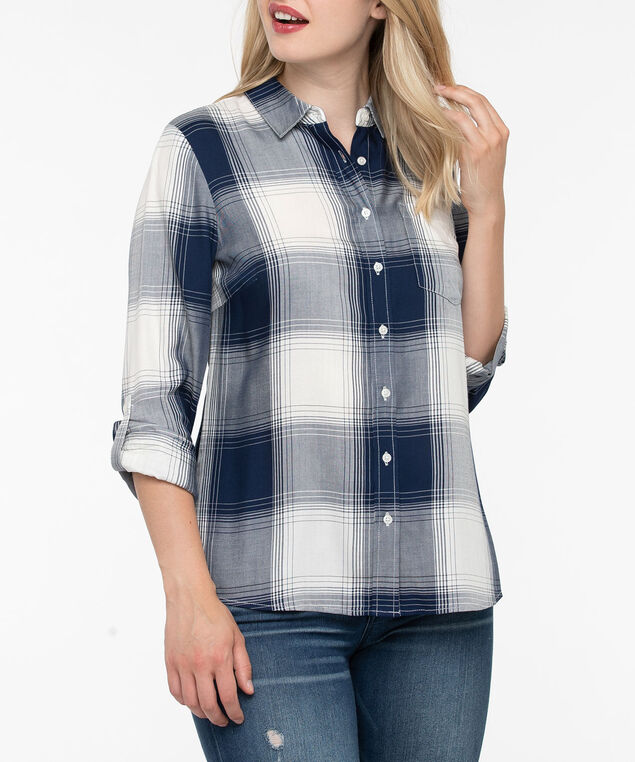 Plaid Button Front Blouse, Ink Blue/Pearl, hi-res