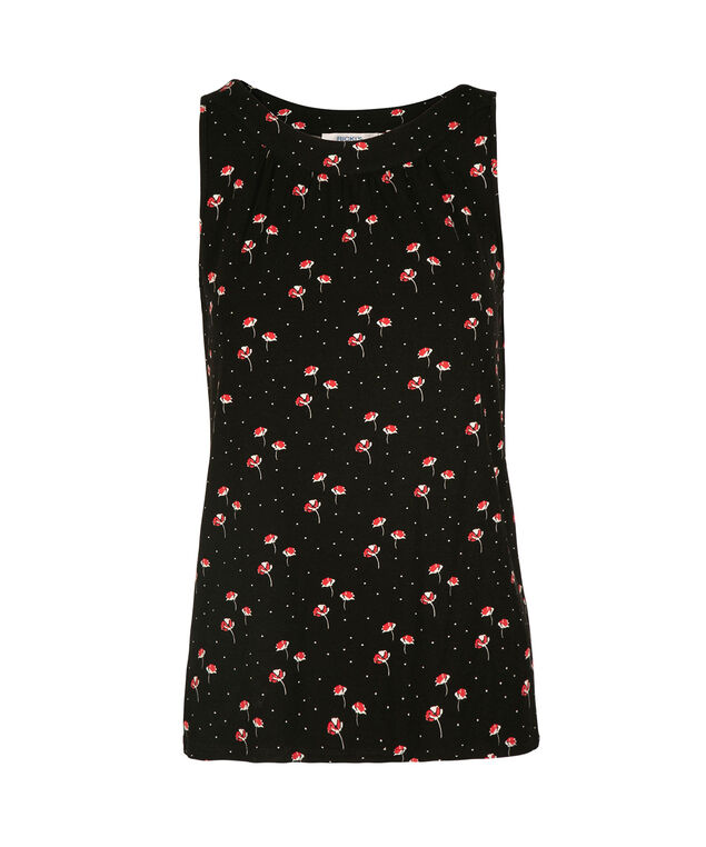 Sleeveless Gathered Neck Knit Tank, Black/Red Floral, hi-res