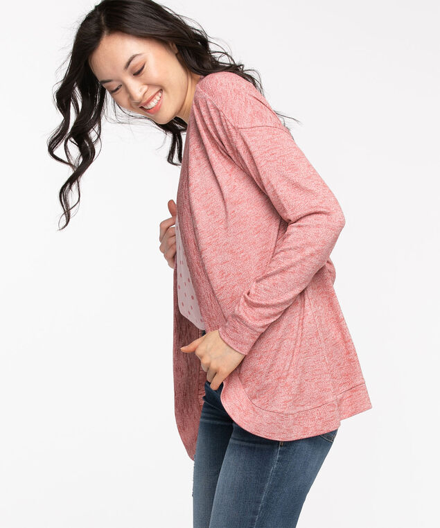 Hacci Long Sleeve Cocoon Cardi, Dusty Rose Mix