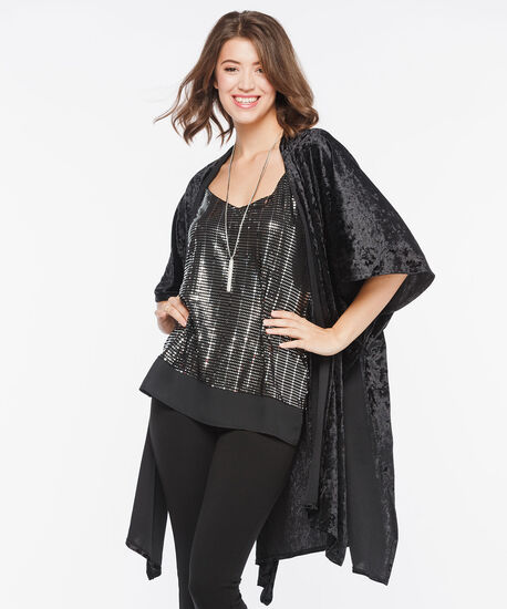 Sleeveless Chiffon Trim Sequin Top, Black/Silver, hi-res