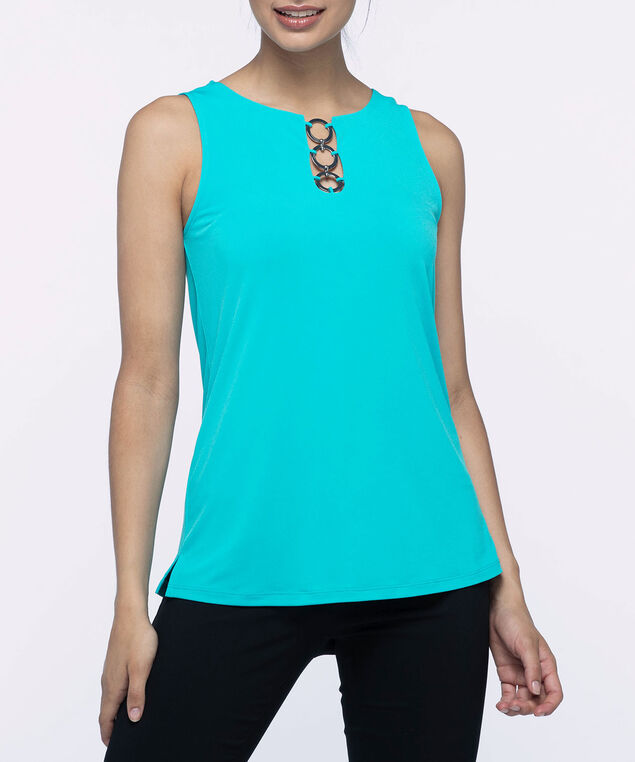 Silver-Link Neckline Sleeveless Top, Aqua, hi-res