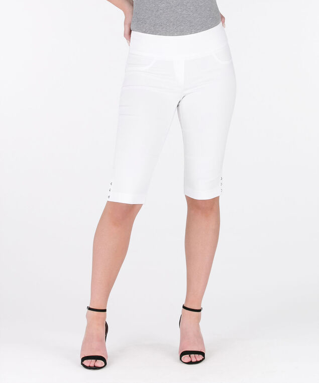 Crystal Stud Microtwill Bermuda Short, True White, hi-res