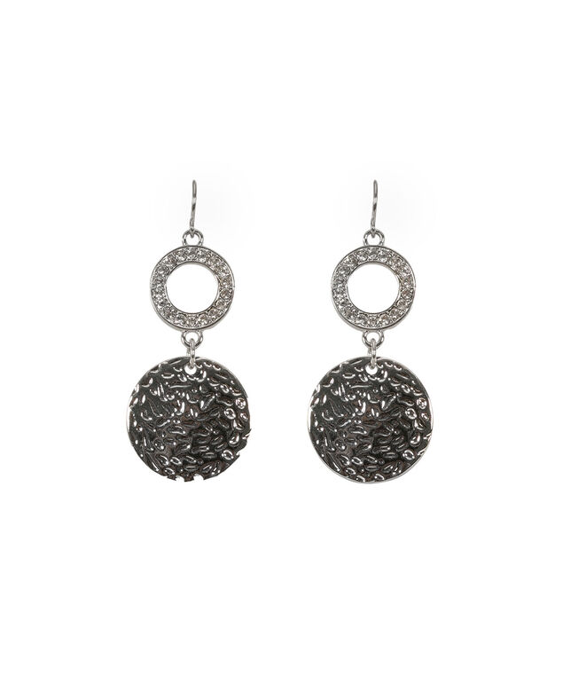 Pave & Metal Disc Drop Earring, Clear/Rhodium, hi-res