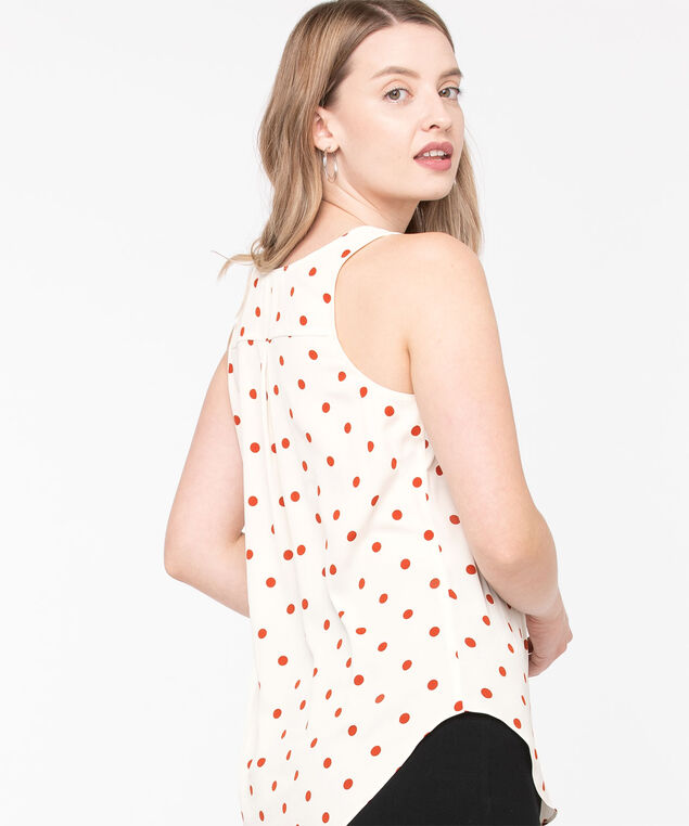 Pleat Back Woven Essential Cami, Rust Dot