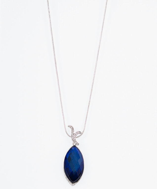 Faceted Stone Leaf Necklace, Bright Blue/Rhodium, hi-res